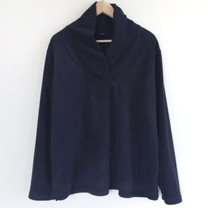 Navy fleece pullover by Basic Editions
